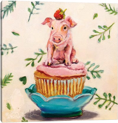 Berry Piglet Cake Canvas Art Print