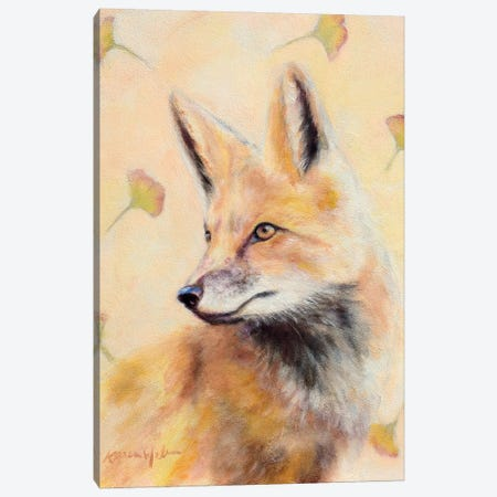 Red Fox Gingko Canvas Print #KWB5} by Karen Weber Canvas Wall Art