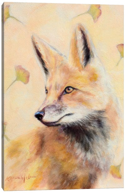 Red Fox Gingko Canvas Art Print