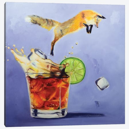 Fox On The Rocks Canvas Print #KWB6} by Karen Weber Canvas Artwork