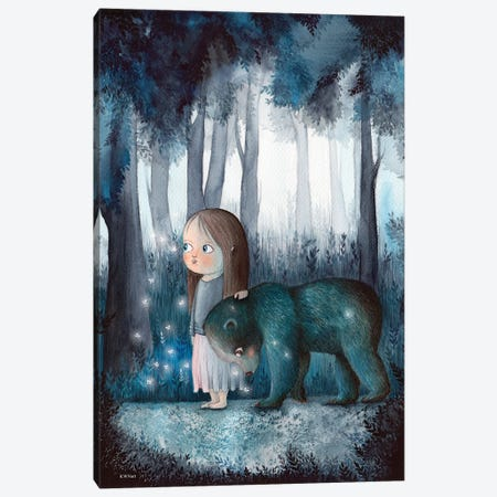 Girl, Forest And A Bear Canvas Print #KWN16} by KWNart Canvas Wall Art
