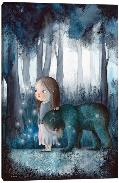 Girl, Forest And A Bear Canvas Art Print