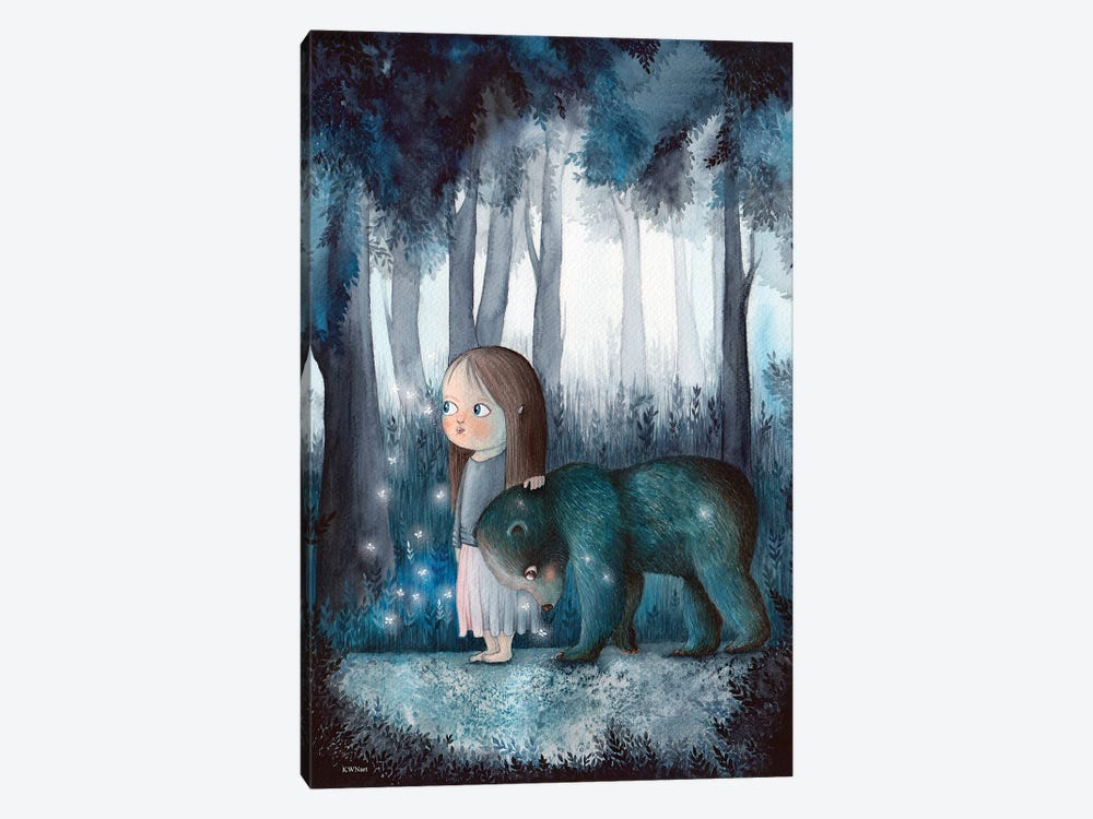 Girl, Forest And A Bear by KWNart 1-piece Canvas Artwork