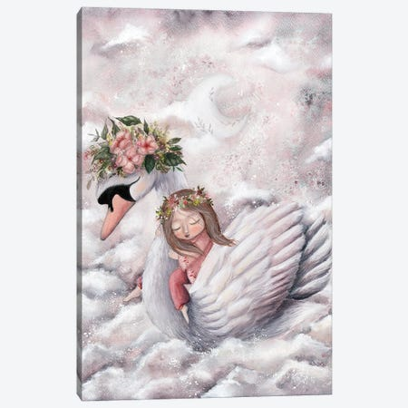 Girl And A Swan Canvas Print #KWN21} by KWNart Canvas Artwork