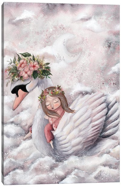 Girl And A Swan Canvas Art Print