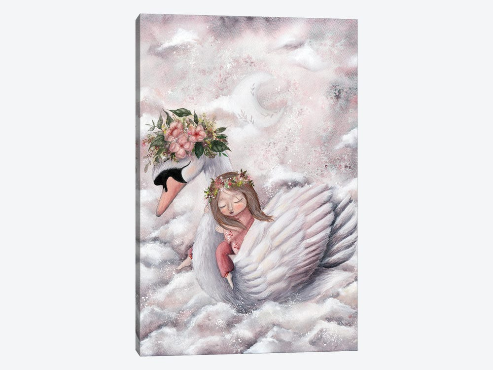 Girl And A Swan by KWNart 1-piece Canvas Wall Art