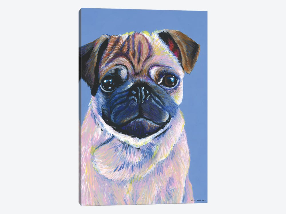 Pug On Blue by Kirstin Wood 1-piece Canvas Print