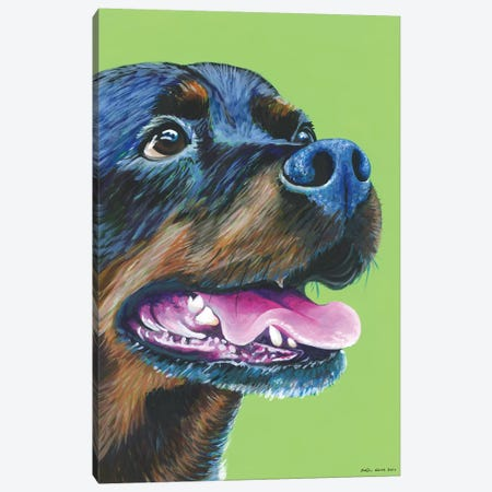 Rottweiller On Lime Canvas Print #KWO13} by Kirstin Wood Canvas Wall Art