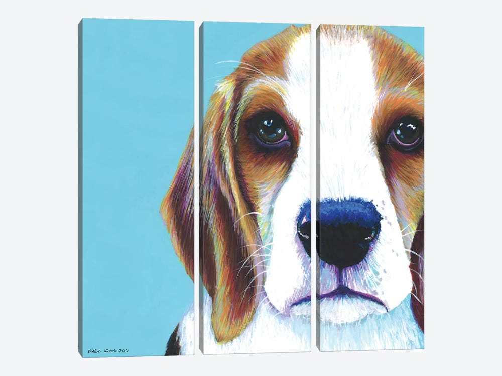 Beagle On Aqua, Square by Kirstin Wood 3-piece Canvas Art