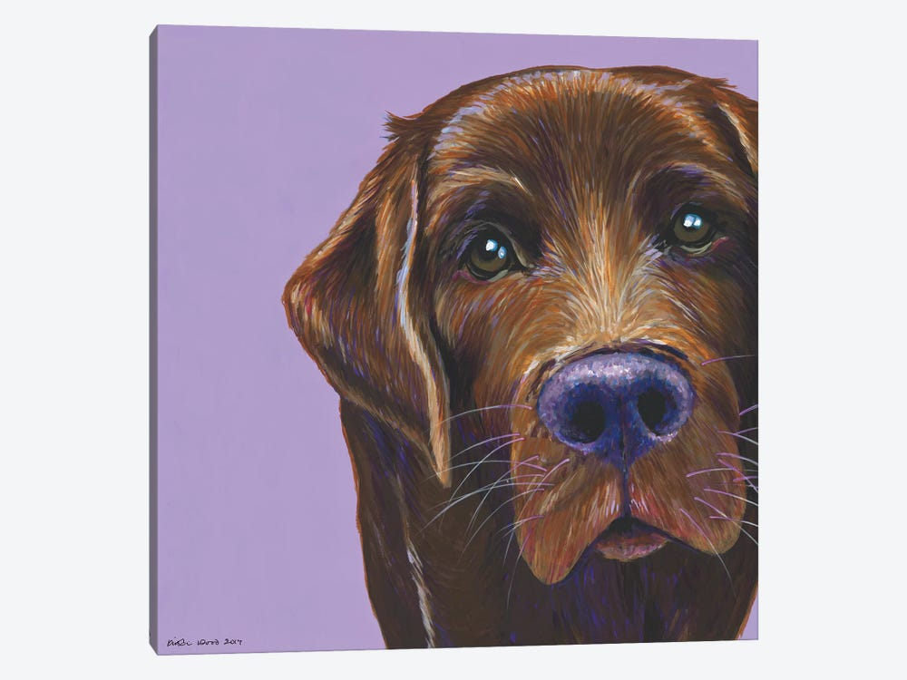 Brown Labrador On Lilac, Square by Kirstin Wood 1-piece Canvas Artwork