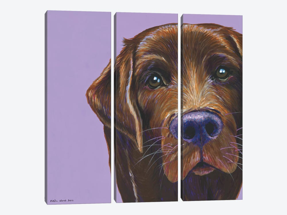 Brown Labrador On Lilac, Square by Kirstin Wood 3-piece Canvas Wall Art