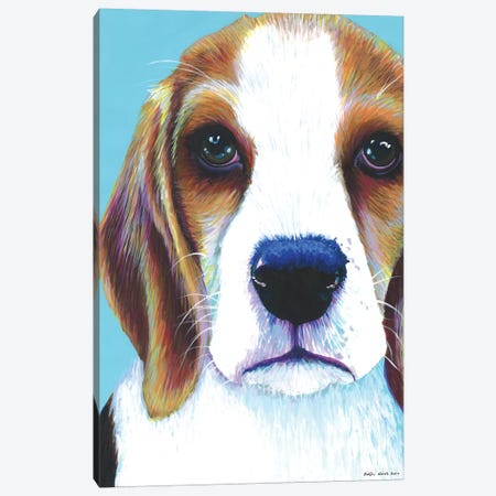 Beagle On Aqua Canvas Print #KWO1} by Kirstin Wood Canvas Art