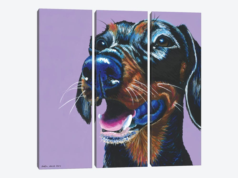 Dachshund On Lilac, Square by Kirstin Wood 3-piece Canvas Art Print