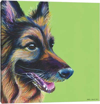 German Shepherd On Lime, Square Canvas Art Print