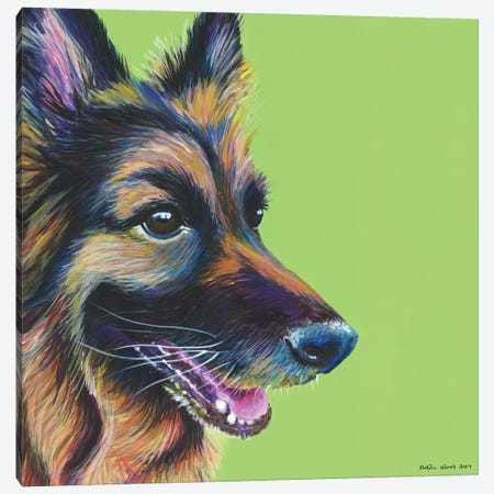 German Shepherd On Lime, Square 3-Piece Canvas #KWO23} by Kirstin Wood Canvas Print