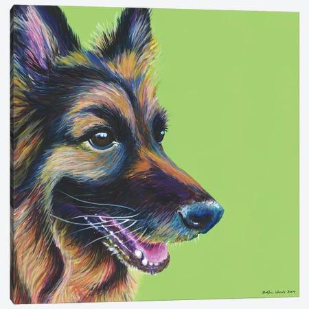 German Shepherd On Lime, Square Canvas Print #KWO23} by Kirstin Wood Canvas Print