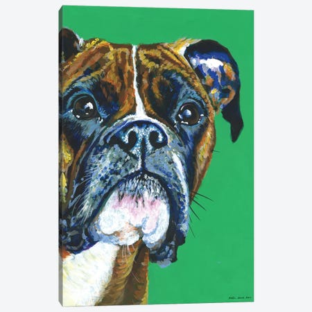 Boxer On Emerald Canvas Print #KWO2} by Kirstin Wood Canvas Art