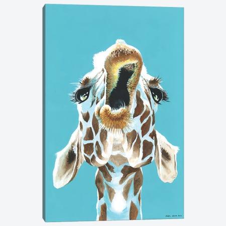 Having A Giraffe Canvas Print #KWO35} by Kirstin Wood Canvas Print