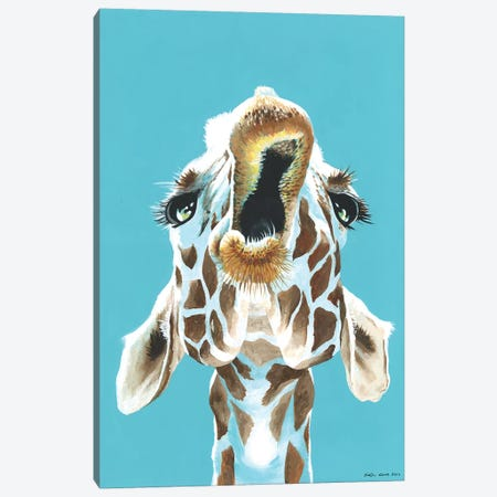 Having A Giraffe Canvas Print #KWO35} by Kirstin Wood Canvas Print