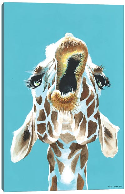 Having A Giraffe Canvas Art Print