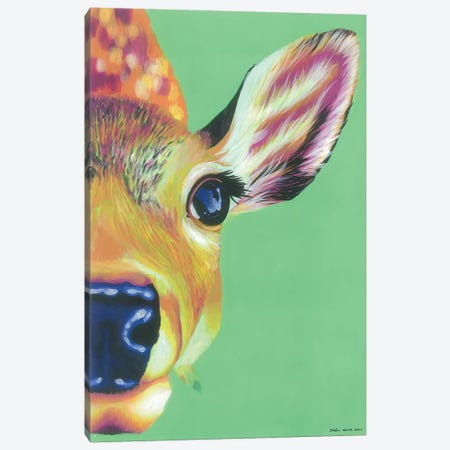 Hello Deer Canvas Print #KWO36} by Kirstin Wood Art Print