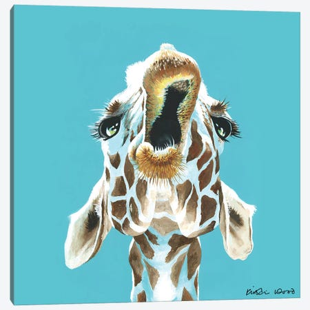 Giraffe On Turquoise Square Canvas Print #KWO56} by Kirstin Wood Art Print