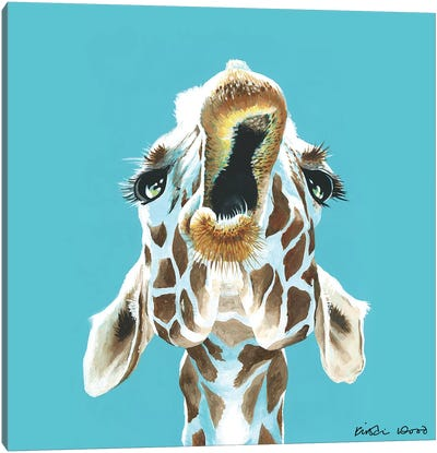 Giraffe On Turquoise Square Canvas Art Print