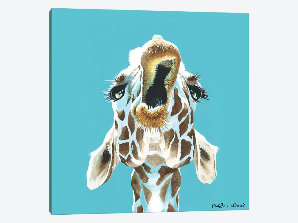 Giraffe On Turquoise Square by Kirstin Wood 1-piece Art Print