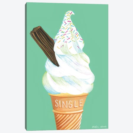 Ice Cream On Mint Green 3-Piece Canvas #KWO58} by Kirstin Wood Canvas Wall Art