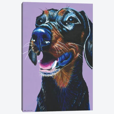 Dachshund On Lilac Canvas Print #KWO5} by Kirstin Wood Canvas Art Print