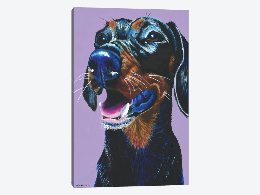 Dachshund On Lilac by Kirstin Wood 1-piece Canvas Artwork