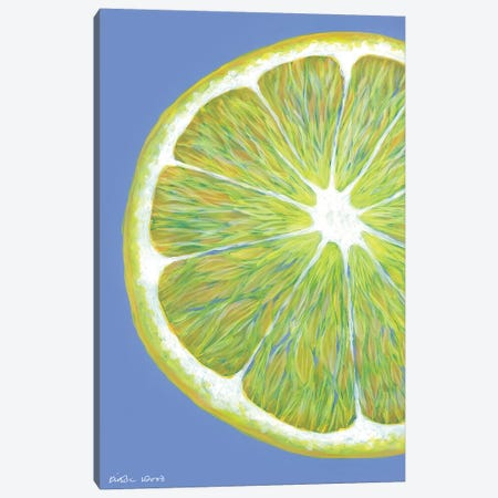 Lemon Slice On Blue Canvas Print #KWO61} by Kirstin Wood Canvas Print