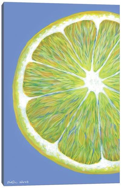 Lemon Slice On Blue Canvas Art Print