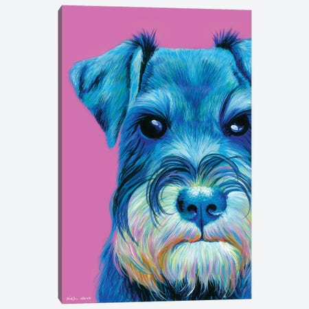 Schnauzer On Pink Canvas Print #KWO62} by Kirstin Wood Canvas Art Print