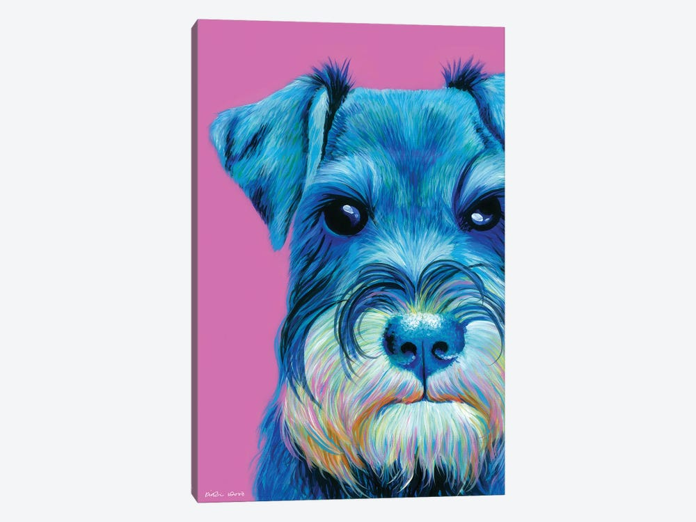 Schnauzer On Pink by Kirstin Wood 1-piece Canvas Art