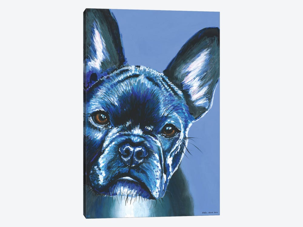 French Bulldog On Blue by Kirstin Wood 1-piece Canvas Print