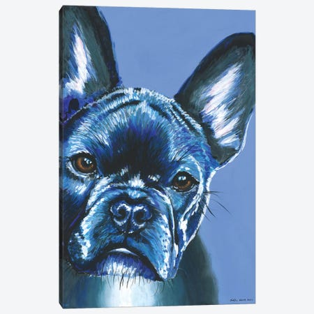 French Bulldog On Blue Canvas Print #KWO6} by Kirstin Wood Canvas Art Print