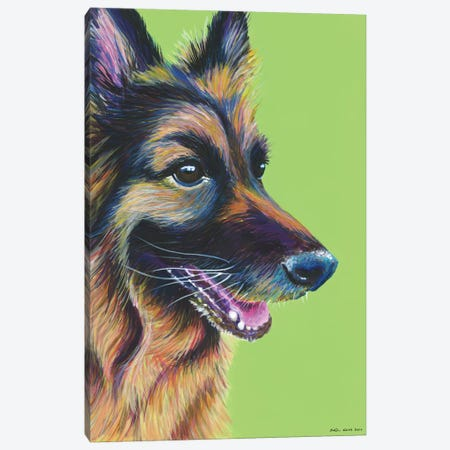 German Shepherd On Lime Canvas Print #KWO7} by Kirstin Wood Art Print