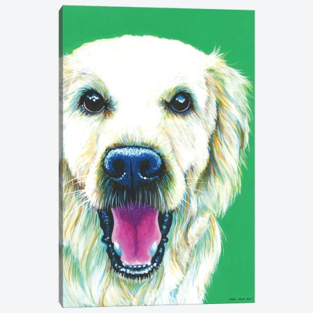 Golden Retriever On Emerald Canvas Print #KWO8} by Kirstin Wood Canvas Wall Art