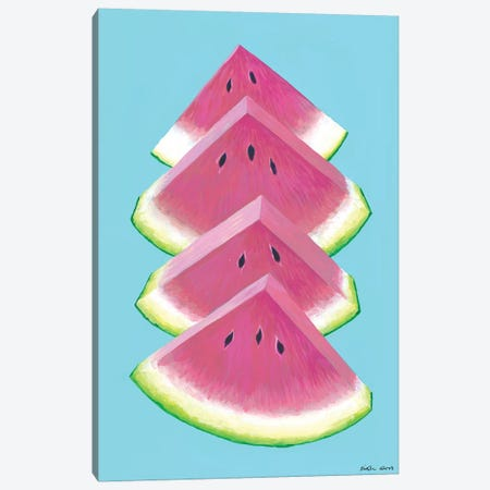 Watermelon Wedges Canvas Print #KWO95} by Kirstin Wood Art Print