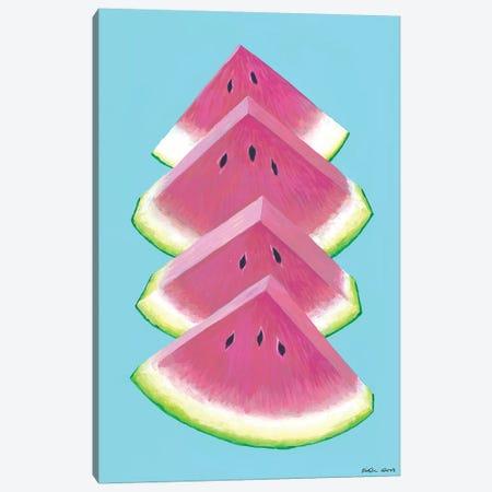 Watermelon Wedges Canvas Print #KWO95} by Kirstin Wood Art Print