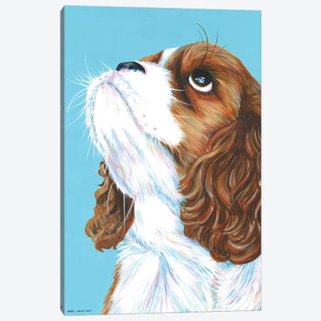 King Charles Cavalier On Aqua Canvas Print #KWO9} by Kirstin Wood Canvas Artwork