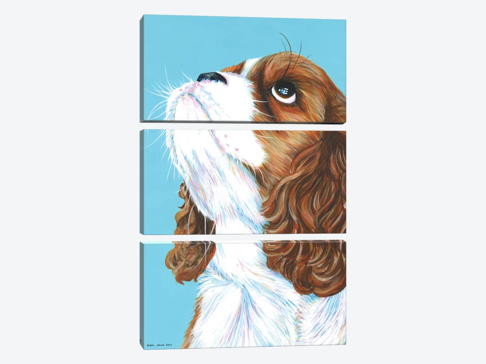 King Charles Cavalier On Aqua by Kirstin Wood 3-piece Canvas Wall Art