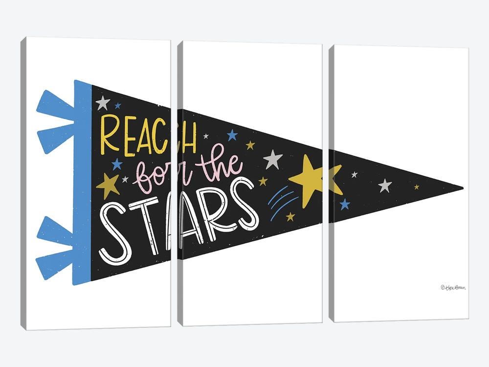 Reach for the Stars Pennant by Kyra Brown 3-piece Canvas Wall Art
