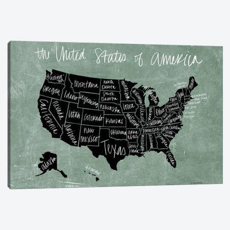 Chalk USA Map Canvas Print #KYB5} by Kyra Brown Canvas Art