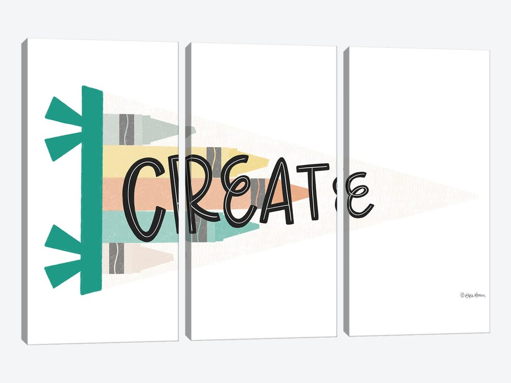 Create Pennant by Kyra Brown 3-piece Canvas Print