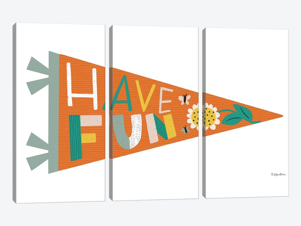 Have Fun Pennant by Kyra Brown 3-piece Canvas Art