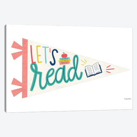 Let's Read Pennant Canvas Print #KYB9} by Kyra Brown Canvas Print