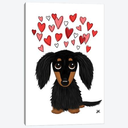Cute Longhaired Black And Tan Dachshund With Hearts Canvas Print #KYJ11} by Jenn Kay Canvas Wall Art