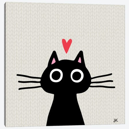 Quirky Black Kitty Cat With Heart Canvas Print #KYJ25} by Jenn Kay Canvas Artwork
